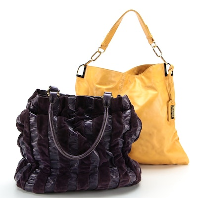 Badgley Mischka Handbag in Yellow Leather and Adro Bag in Purple Leather/Suede