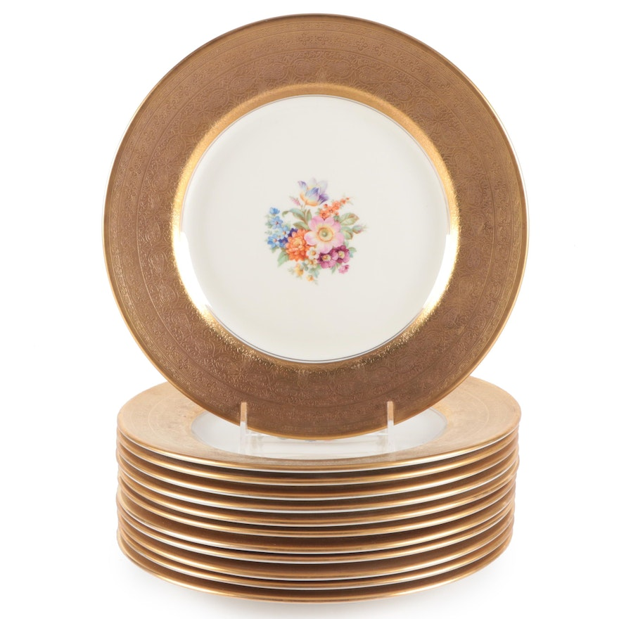 Pickard China Gold Embossed Gold Rim Dinner Plates, Early to Mid 20th Century