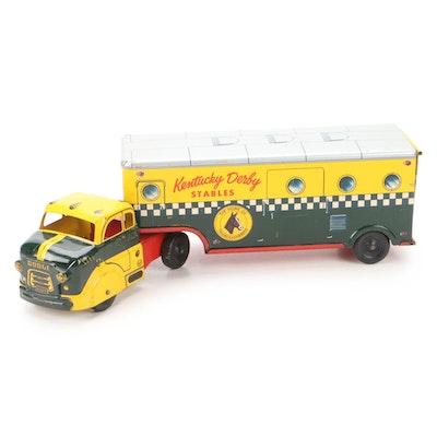 Marx Kentucky Derby Stables Tin Litho Horse Transporter Semi Truck, 1950s