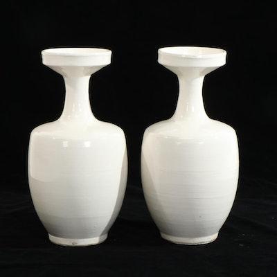 Mid Century Modern Earthenware Bottleneck Vases