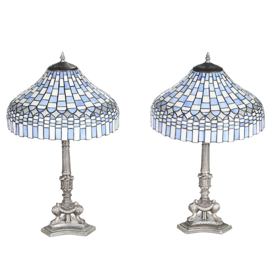 Mosaic Blue and White Slag Glass and Silvered Metal Table Lamps