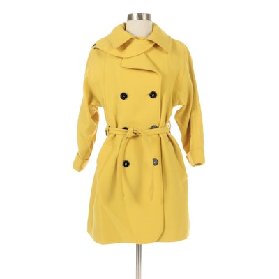 Dolce & Gabbana Yellow Wool Crepe Double-Breasted Trench Coat