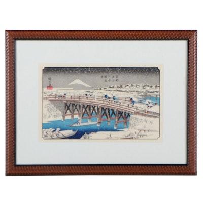 "Utagawa Hiroshige Woodblock ""Nihonbashi Bridge in Snow"""