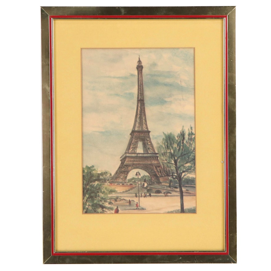 Offset Lithograph of Eiffel Tower