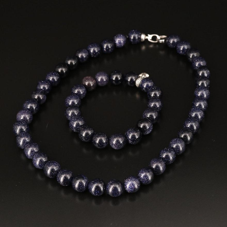 Sterling Goldstone Glass Necklace and Bracelet with Pandora Swarvoski Charm