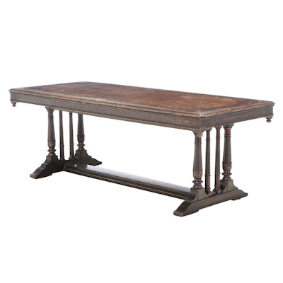 Hand-Painted Refectory Style Dining Table with Portraits, circa 1920