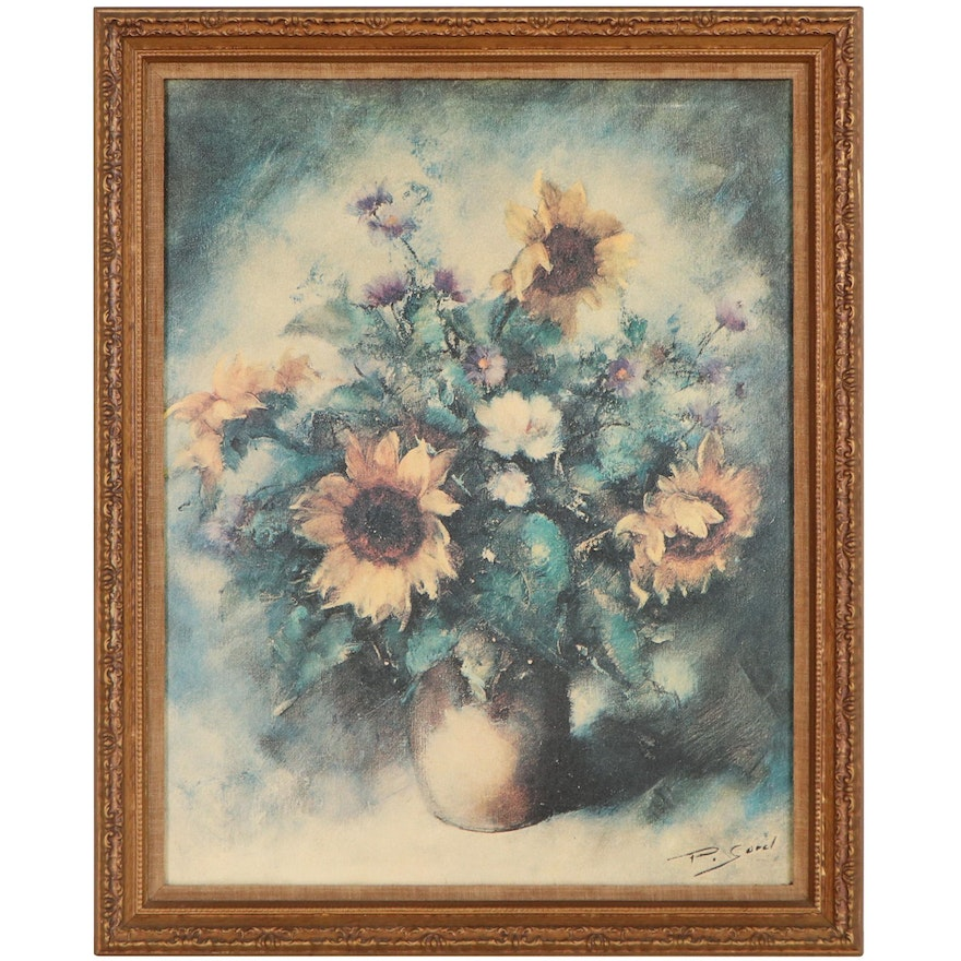 Offset Lithograph After Pierre Sorel of Sunflower Bouquet, Late 20th Century