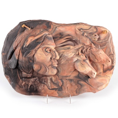 Gregory Warren Chulengo Clay Hanging Sculpture of Native American and Horses