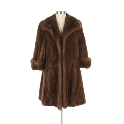 Demi Buff Mink Fur Stroller Coat with Wide Collar and Turned Back Cuffs