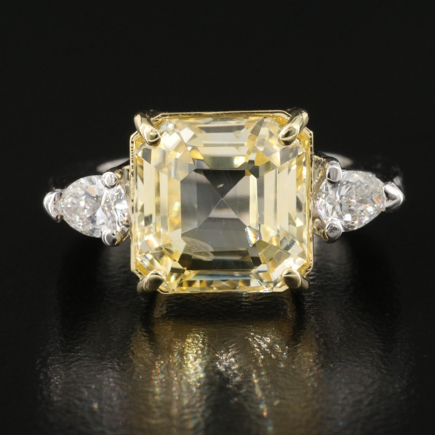 Platinum 10.03 CT Unheated Sapphire and 0.52 CTW Diamond Ring with GIA Report