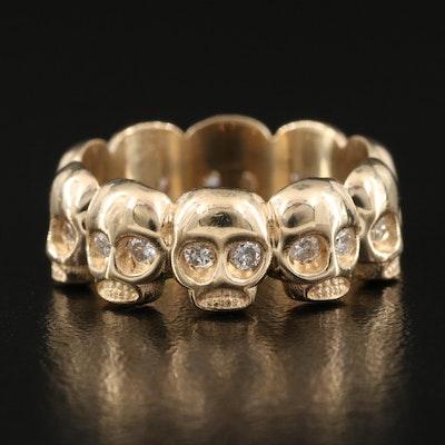14K 0.50 CTW Diamond Skull Band