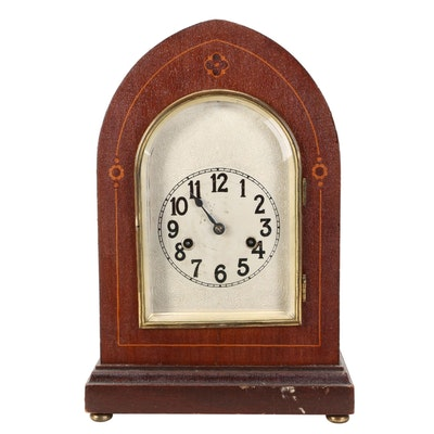 Hamburg American Clock Company Mahogany Beehive Mantel Clock