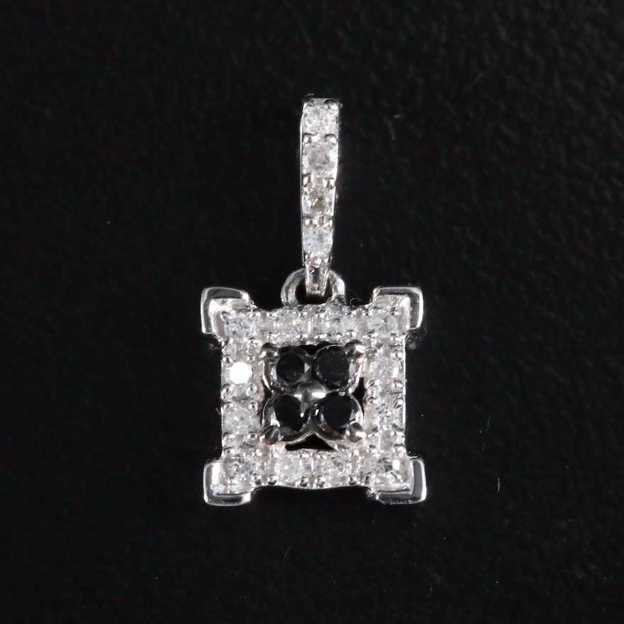 10K 0.12 CTW Diamond Square Pendant