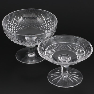 """Waterford Crystal """"Alana"""" and """"Glandore"""" Compotes, Mid to Late 20th Century"""