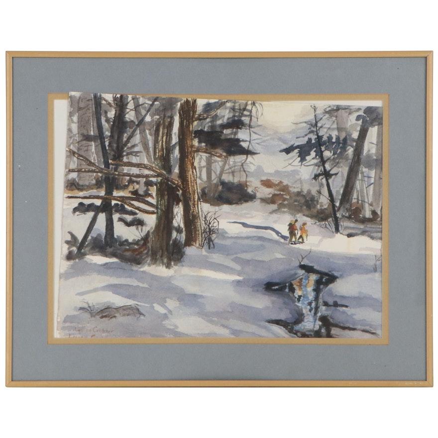 Louise Crutcher Winter Landscape Watercolor Painting