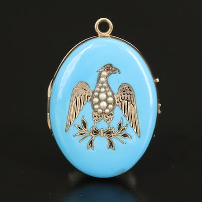 Victorian 14K Seed Pearl, Glass and Enamel Eagle Locket