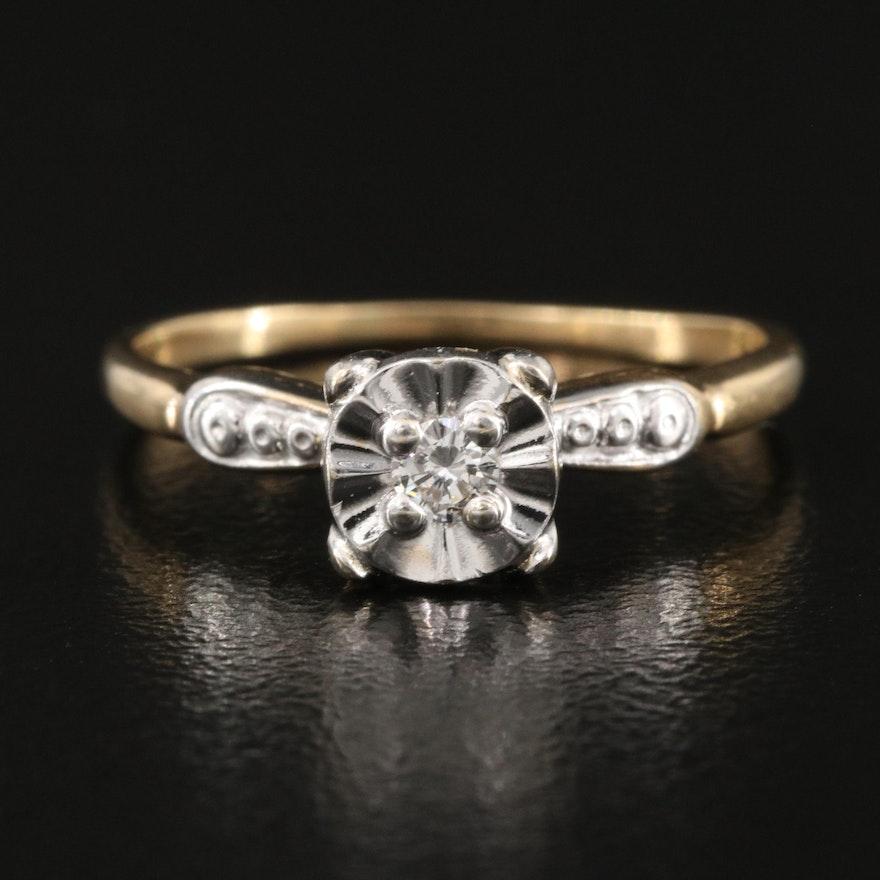 Vintage 14K Illusion Set 0.06 CT Diamond Ring