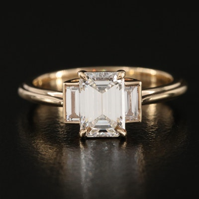 14K 1.19 CTW Diamond Three Stone Ring
