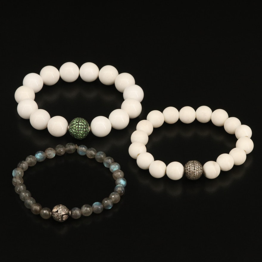 Expandable Pavé Diamond Beaded Bracelets Including Labradorite and Tsavorite