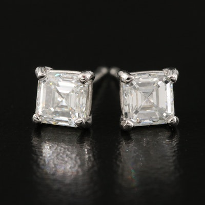 Platinum 1.00 CTW Asscher Cut Diamond Stud Earrings with GIA Reports