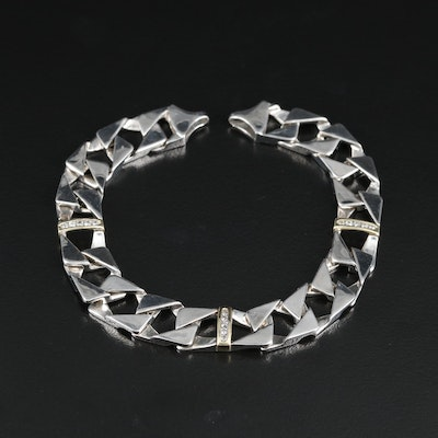 Sterling Curb Chain Bracelet with Diamond and 10K Accent Bars