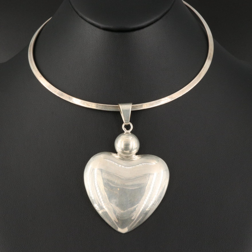 Sterling Silver Torque with Puffed Heart Pendant