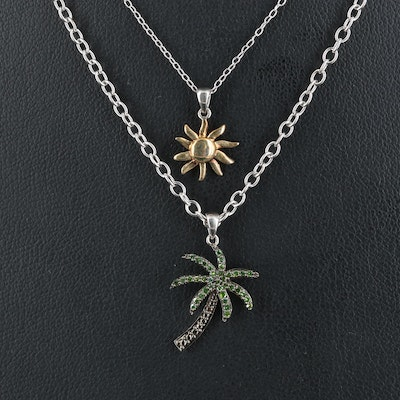 Sterling Palm Tree and Sun Pendant Necklace with Diamond