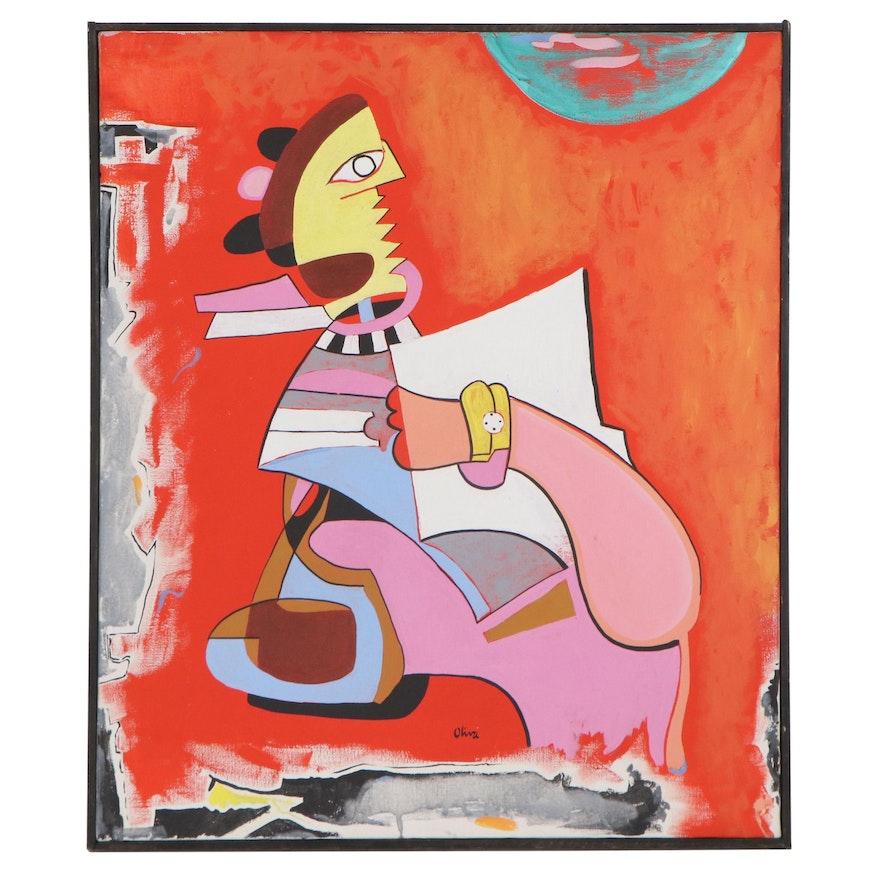 Eduardo Oliva Acrylic Painting, 1985
