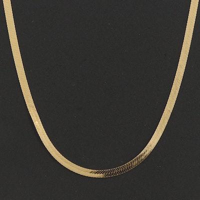 14K Italian Diamond Cut Reversible Herringbone Chain Necklace