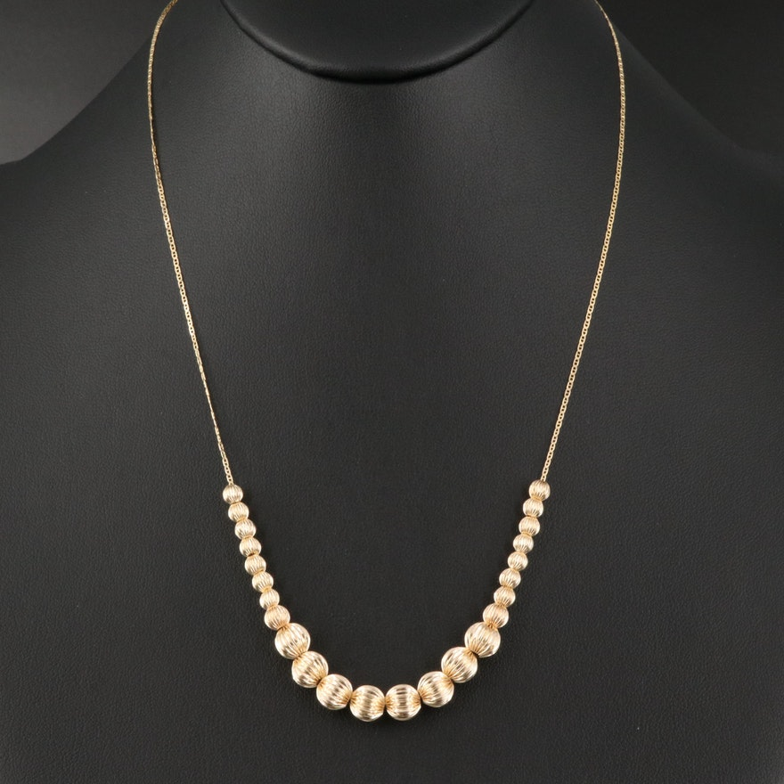 14K Graduated Fluted Bead Necklace