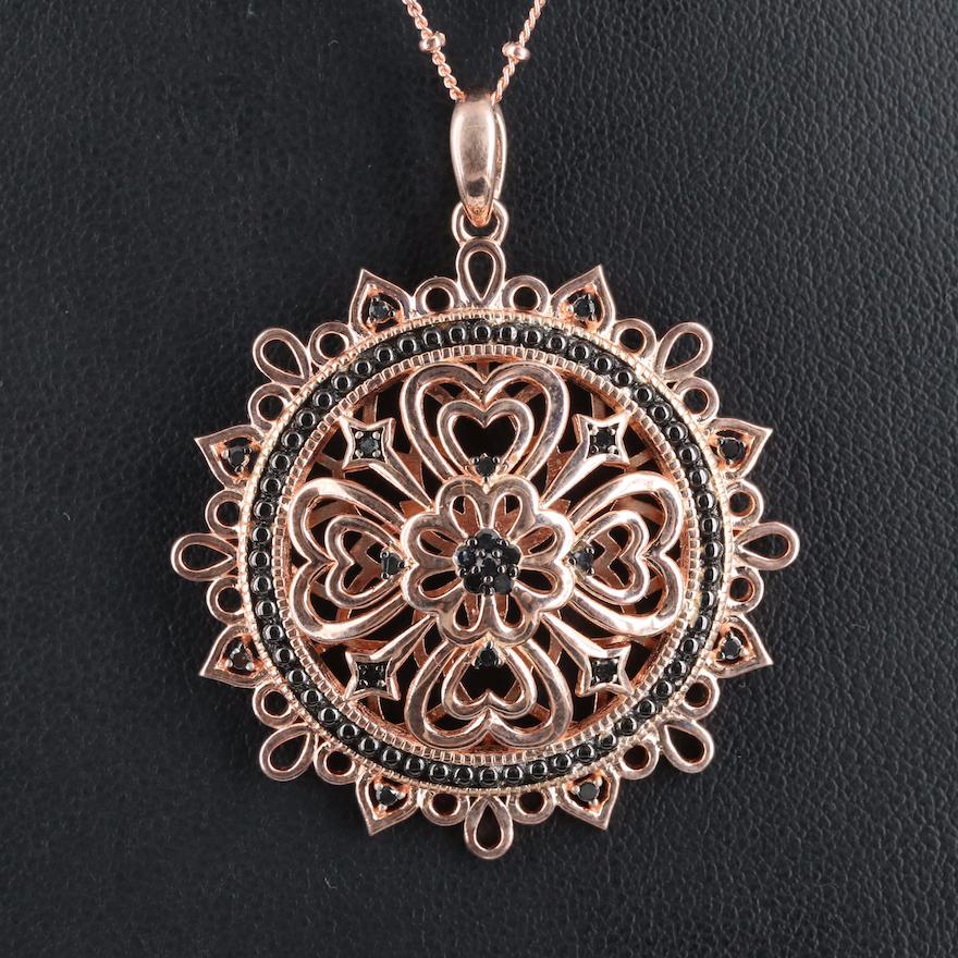 Sterling Diamond Openwork Medallion Necklace