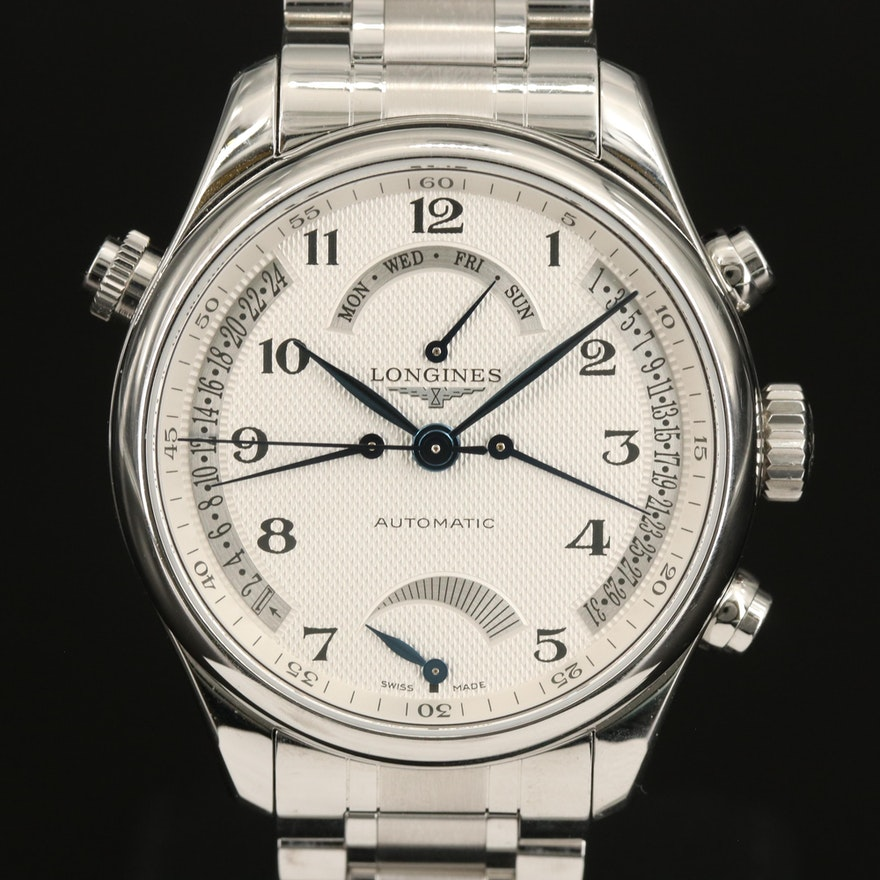 Longines Master Collection Retrograde Stainless Steel Automatic Wristwatch