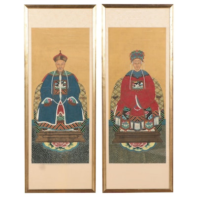 Chinese Ancestor Portraits Gouache Paintings