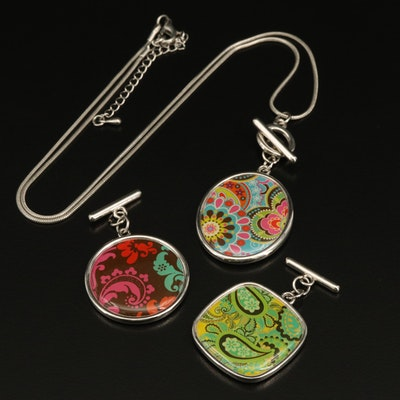 Snake Chain Necklace with Interchangeable and Reversible Acrylic Pendants