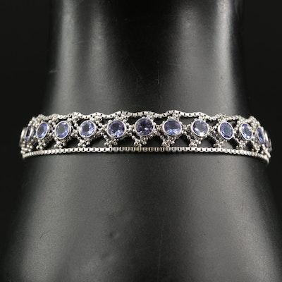 Sterling Tanzanite Bezel Set Bracelet