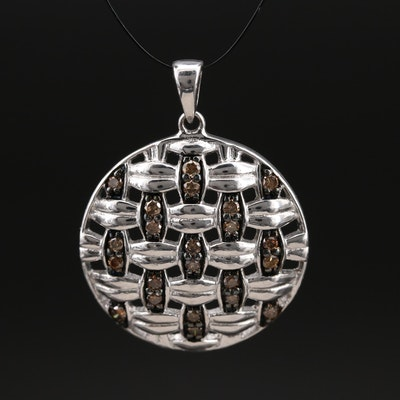 Sterling Diamond Openwork Pendant with Basket Weave Motif