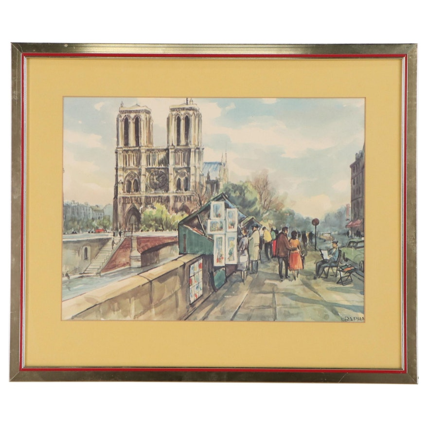 Offset Lithograph of Parisian Boulevard Scene
