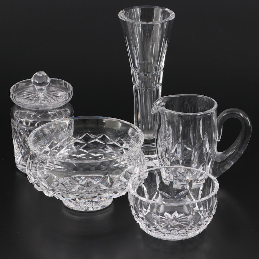 """Waterford Crystal """"Comeragh"""" Footed Bowl and Other Tableware, Late 20th Century"""