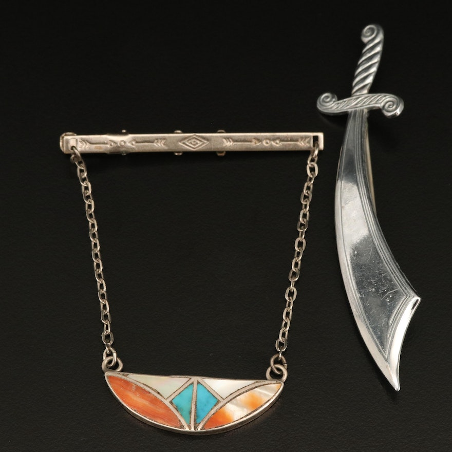 Scimitar Brooch and Inlay Tie Clip with Mother of Pearl, Shell and Turquoise