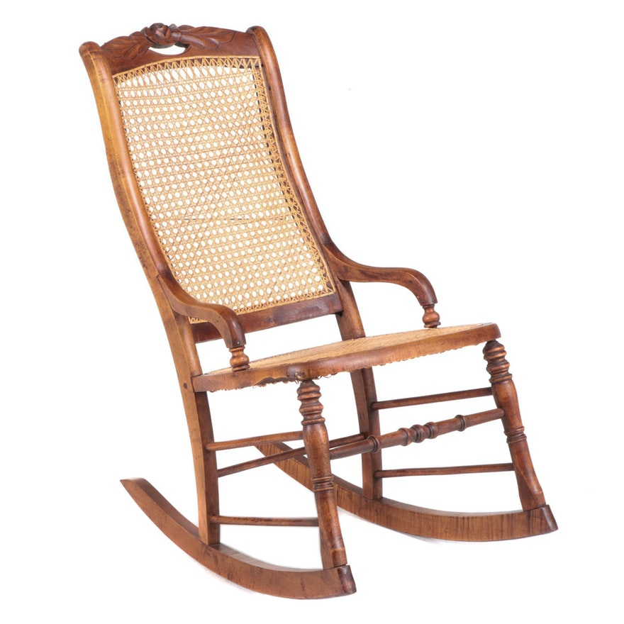 Victorian Maple and Caned Rocker, Late 19th Century
