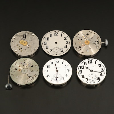 5 Hamilton Pocket Watch Movements and One Dial