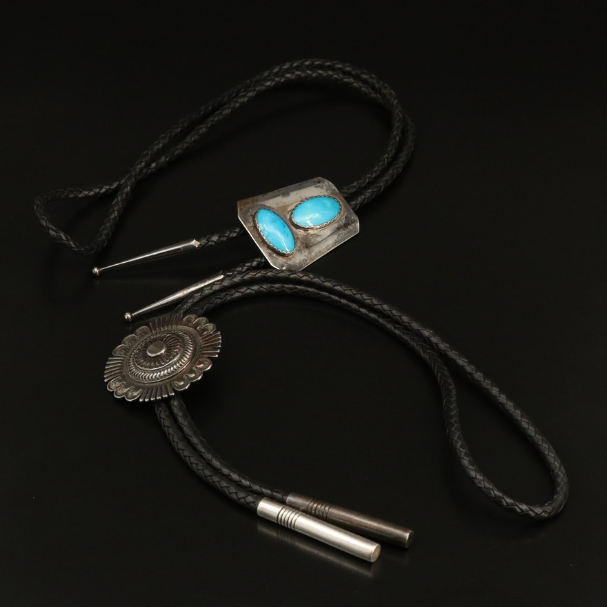 Sterling Bolo Ties Including Turquoise