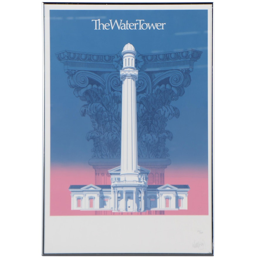 """Whittle and Bird Serigraph """"The Water Tower"""""""