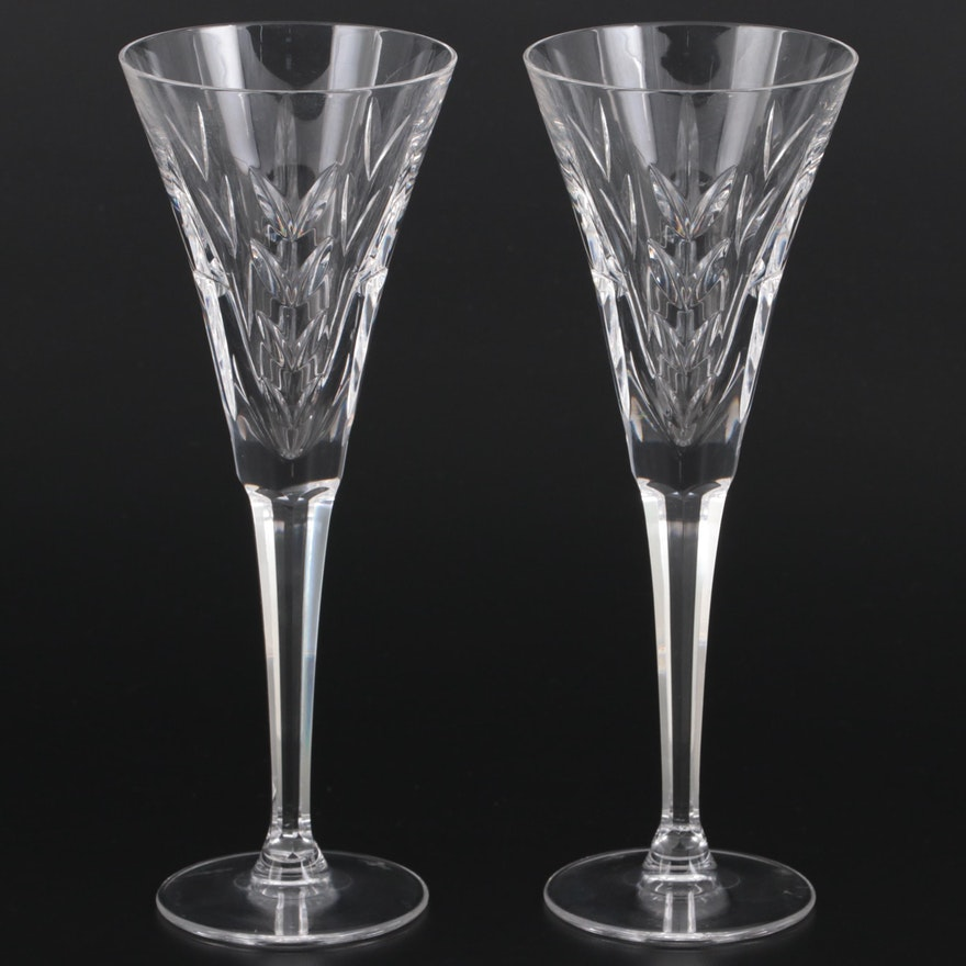 """Waterford Crystal America's Heritage Collection """"Lincoln"""" Champagne Flutes"""