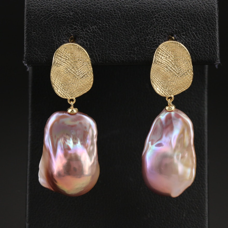 Sterling Baroque Pearl Drop Earrings