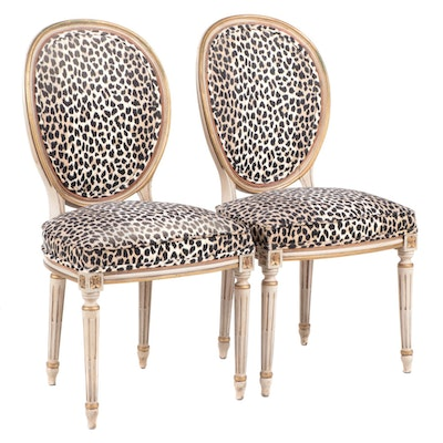 Pair of Louis XVI Style Painted Beech, Parcel-Gilt, & Cheetah-Print Side Chairs