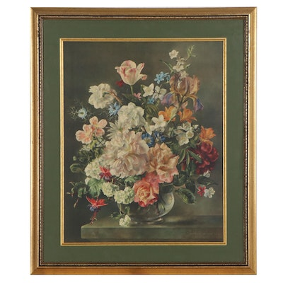 """Color Collotype After Barbara Shaw """"Flowerpiece"""""""