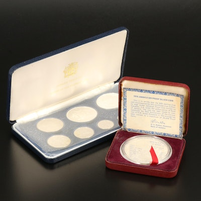 1974 Jamaica Proof Set and 1978 Jamaica $25 Proof Silver Coin