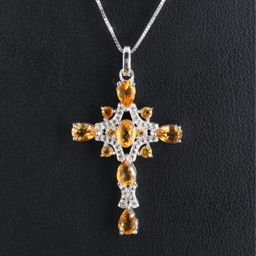 Sterling Citrine and Topaz Cross Necklace