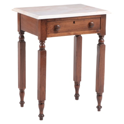 American Primitive Walnut and Marble Top Side Table, 19th Century and Later